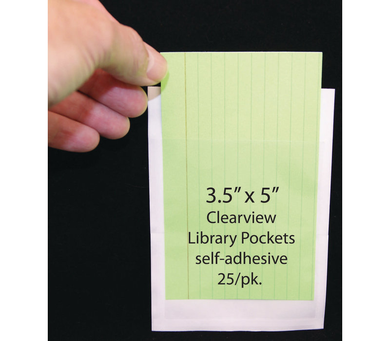 "Clear View Self-Adhesive Pockets, Library Pocket, 3 1/2"" x 5"