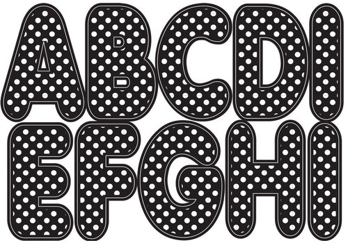 """ASHLEY PRODUCTIONS Black with white dots Magnetic Letters 2.75""""   57 Letters Uppercase"""