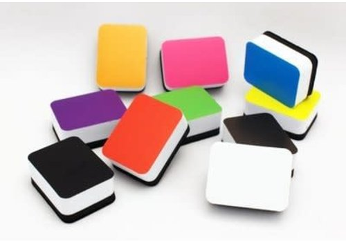 ASHLEY PRODUCTIONS Non-Magnetic Mini Whiteboard Eraser, Set of 10 ASS'T COLOR
