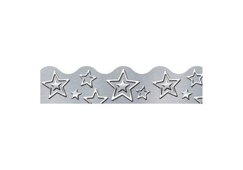 Trend Enterprises I ♥ Metal Silver Star Border*