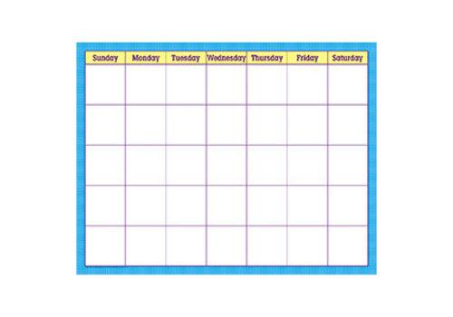 Trend Enterprises Blue Check Wipe-Off Calendar 17x22