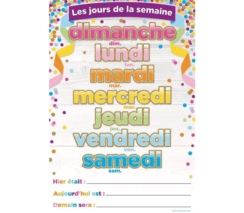 """French Days of the Week Poly Chart 13""""x19"""" *"""