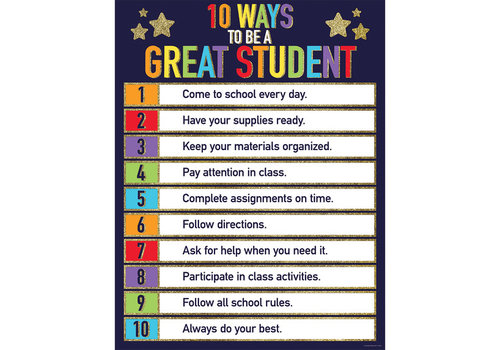 Carson Dellosa 10 Ways to Be A Great Student Glitter Chart*