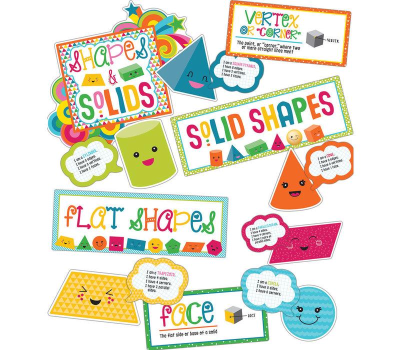 School Pop Shapes and Solids Bulletin Board Set *