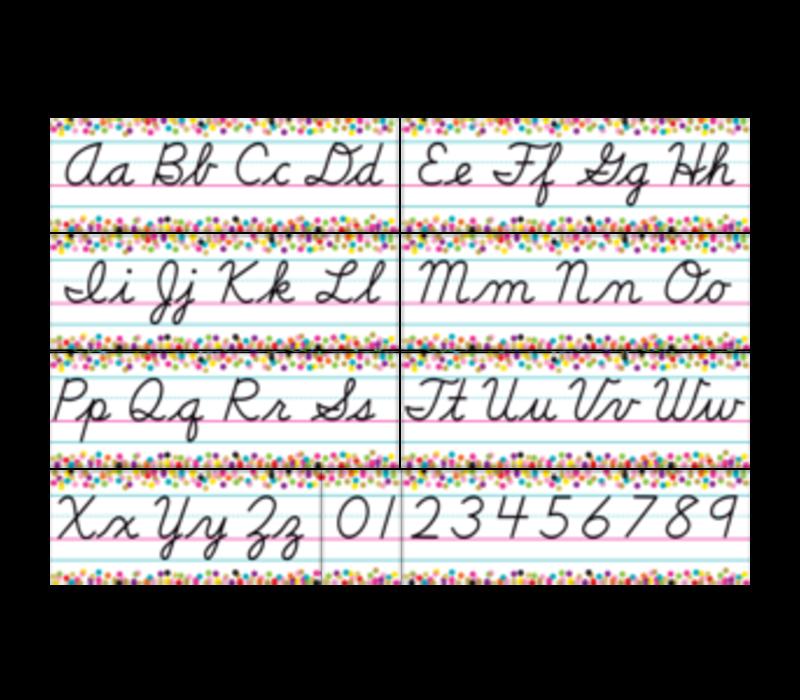 Confetti Cursive Alphabet Line Bulletin Board *