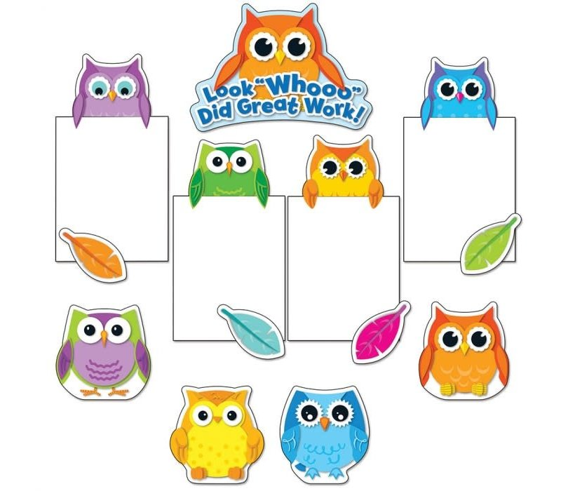 Colorful Owls Good Work Bulletin Board Set