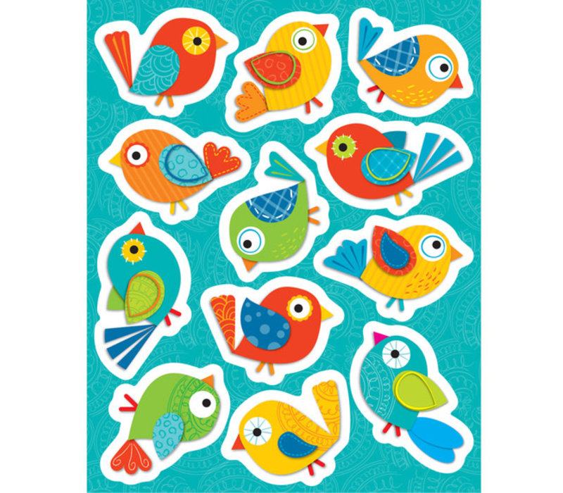 Boho Birds Shape Stickers *