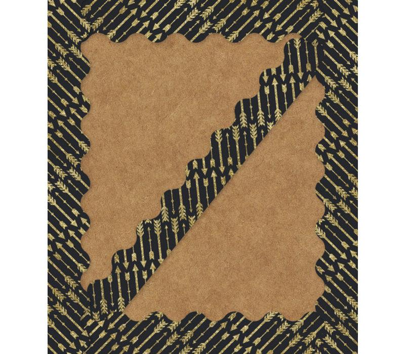 Gold Glitter Arrows Scalloped Border*