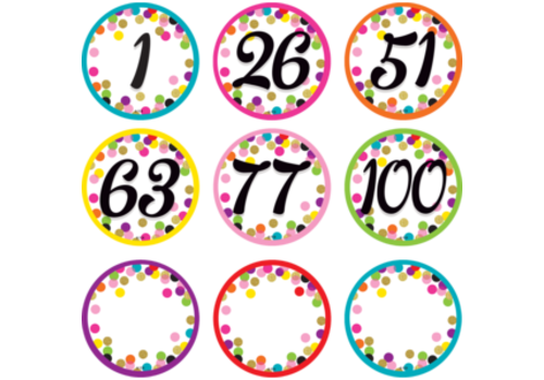 Teacher Created Resources Confetti Numbers Cards 0-100