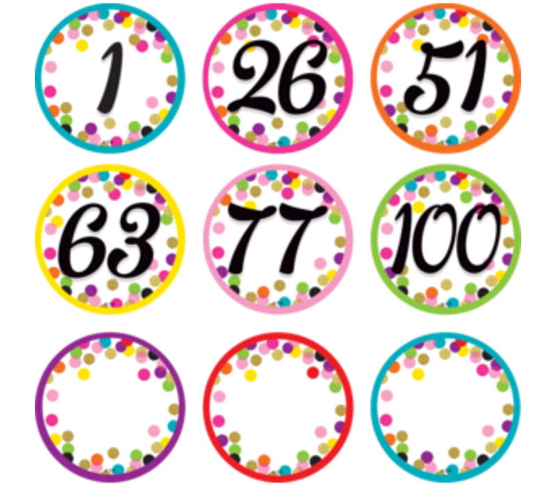 Confetti Numbers Cards 0-100