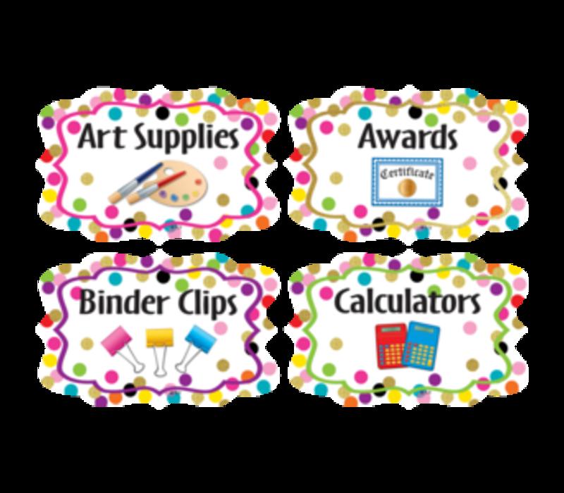 Confetti Classroom Organizers - Supply Labels