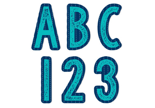 EUREKA Plaid Attitude Blue Deco Letters (180 Characters)