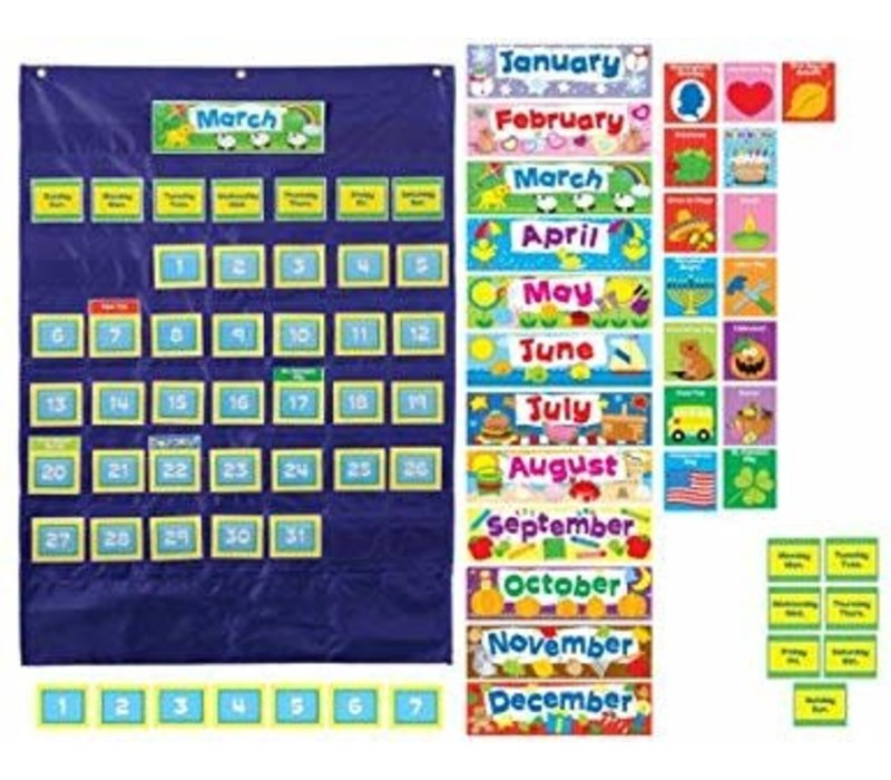 Deluxe Calendar Pocket Chart: Blue