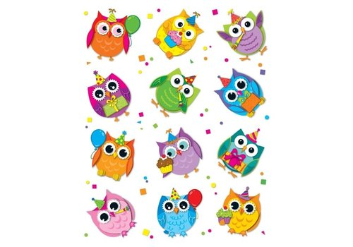 Carson Dellosa Celebrate with Colorful Owls Shape Stickers