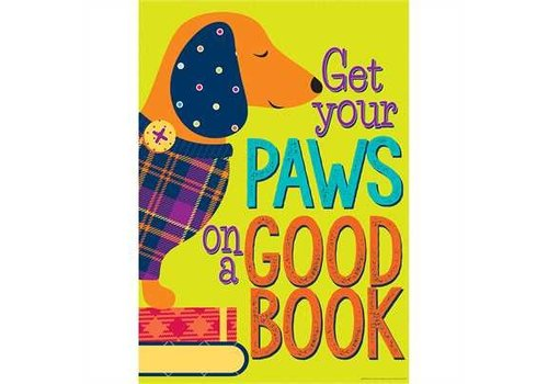 "EUREKA Get Your Paws On a Good Book Poster  13""x19"""