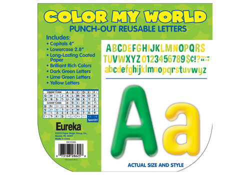 EUREKA Color My World - Green/Lime/Yellow Letters 4""