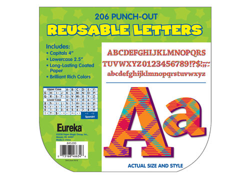 EUREKA Plaid Attitude Orange Deco Letters (180 Characters)