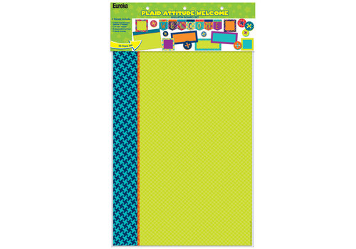 EUREKA Plaid Attitude Welcome Bulletin Board Set