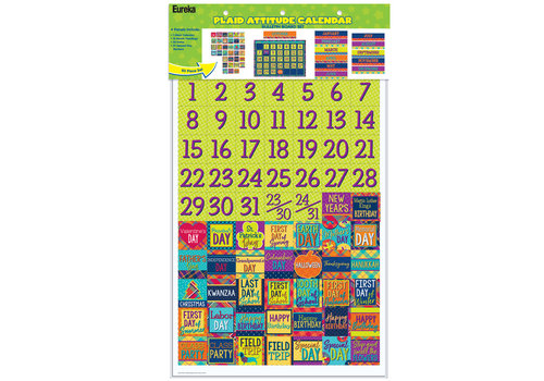EUREKA Plaid Attitude Calendar Bulletin Board Set