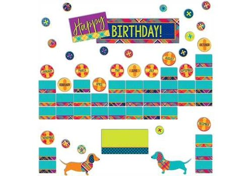 EUREKA Plaid Attitude Class Birthday Mini Bulletin Board Set