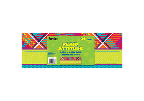 EUREKA Plaid Attitude Self-Adhesive Name Plates