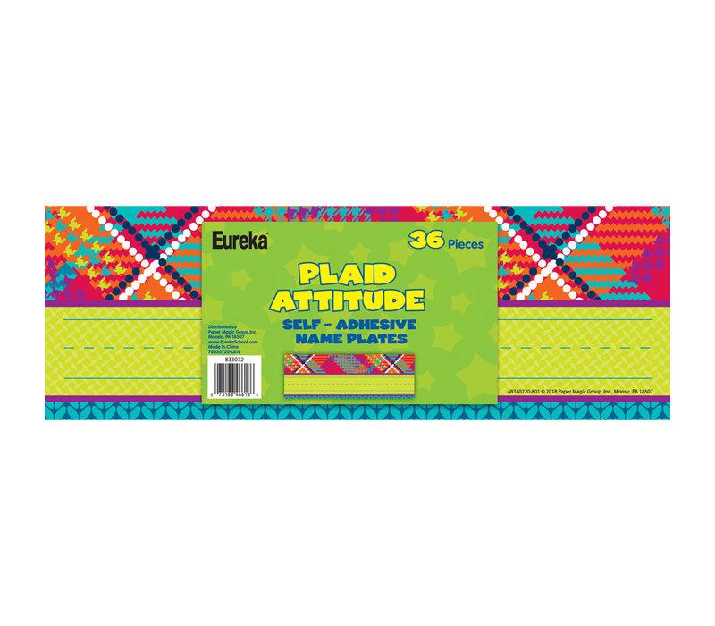 Plaid Attitude Self-Adhesive Name Plates
