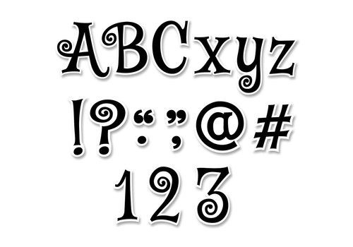 Creative Teaching Press Black Swirl Punch-Out Designer Letters