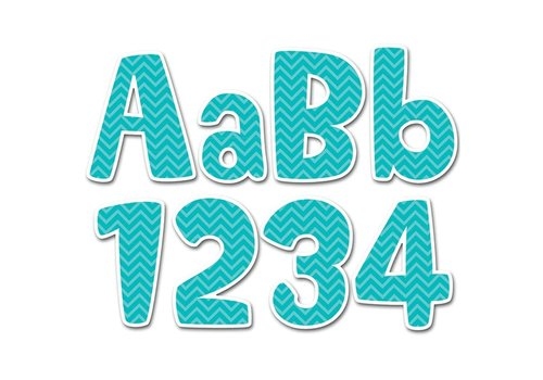 "Creative Teaching Press Turquoise Chevron 4"" Designer Letters"