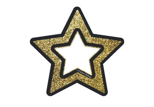 """Carson Dellosa Gold Glitter Stars Mini Cut-Outs, 3"""""""
