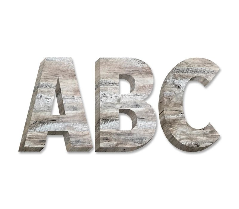 "Rustic Wood 2"" Uppercase Letter Stickers"