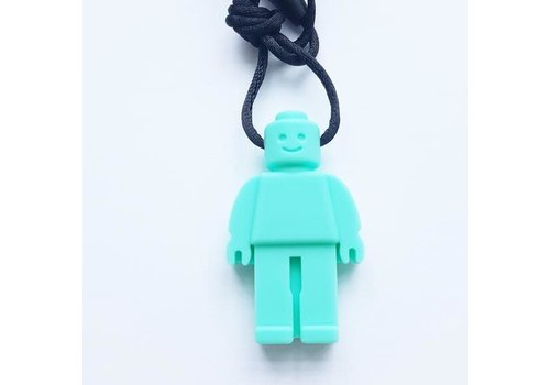 Munching Monster Lego Figure Pendant - Turquoise