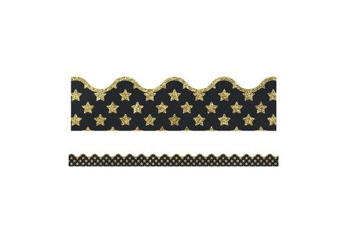 Carson Dellosa Gold Glitter Stars Scalloped Borders
