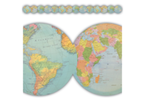Teacher Created Resources Travel the Map Globes Die-Cut Border Trim*