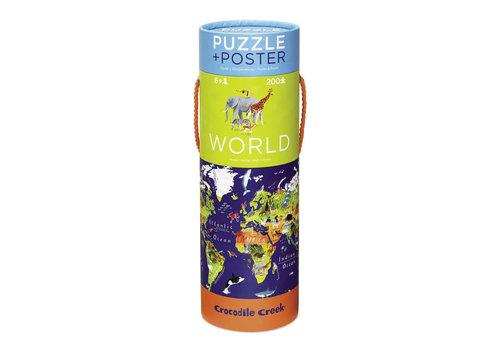 Crocodile Creek World Animals  200-piece Puzzle & Poster Set