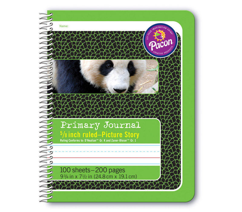 """Primary Journal, Half Rule 5/8"""" GREEN, coil bound"""