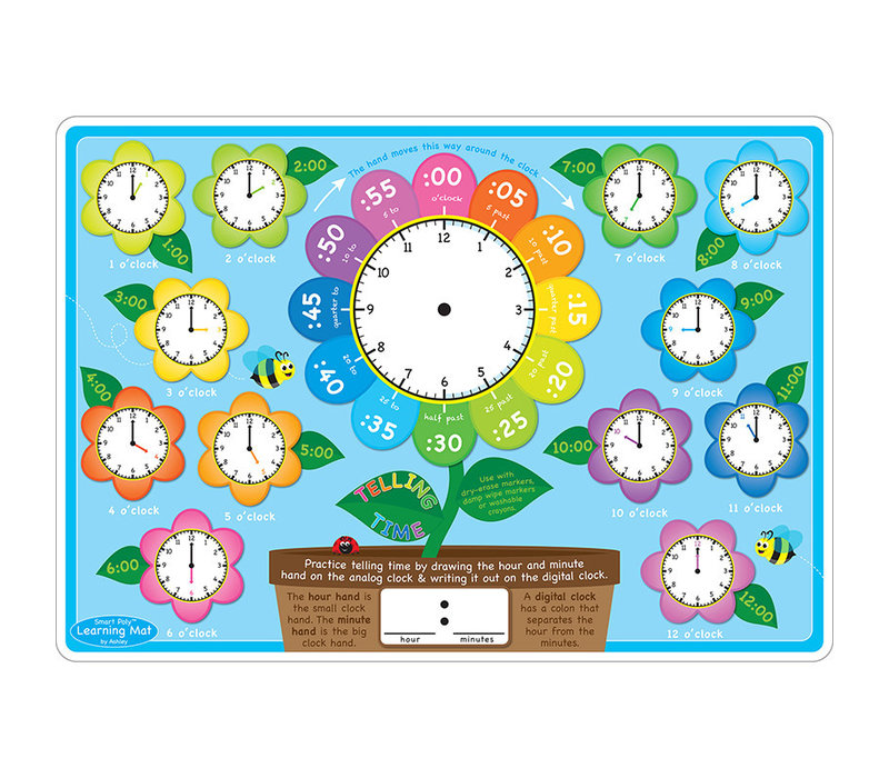 Learning Mat Telling Time, Double-sided