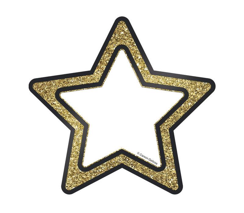 "Gold Glitter Stars Cut-Outs, 6"""