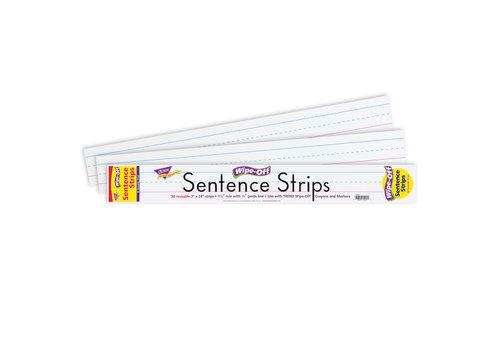 "Trend Enterprises 24"" White Sentence Strips Wipe Off *"