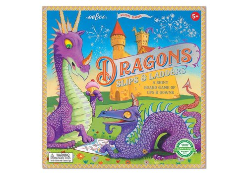 Eeboo Dragons - Slips & Ladders : A Shiny Board Game of Ups & Downs *