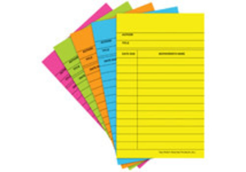 Top Notch Teacher Library Cards - Assorted Colours (50 Count) *
