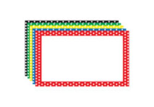 Top Notch Teacher Blank Index Cards - Assorted Polka Dot Border 4X6 *
