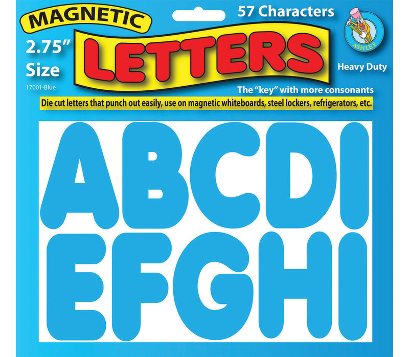 "Blue Magnetic  Letters 2.75""   57 Letters Uppercase (D) *"
