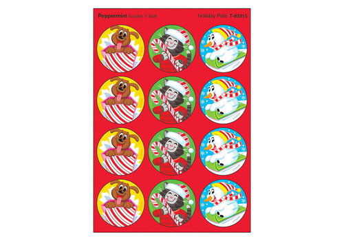 Trend Enterprises Holiday Pals, Peppermint scent Scratch 'n Sniff Stinky Stickers® – Large Round *