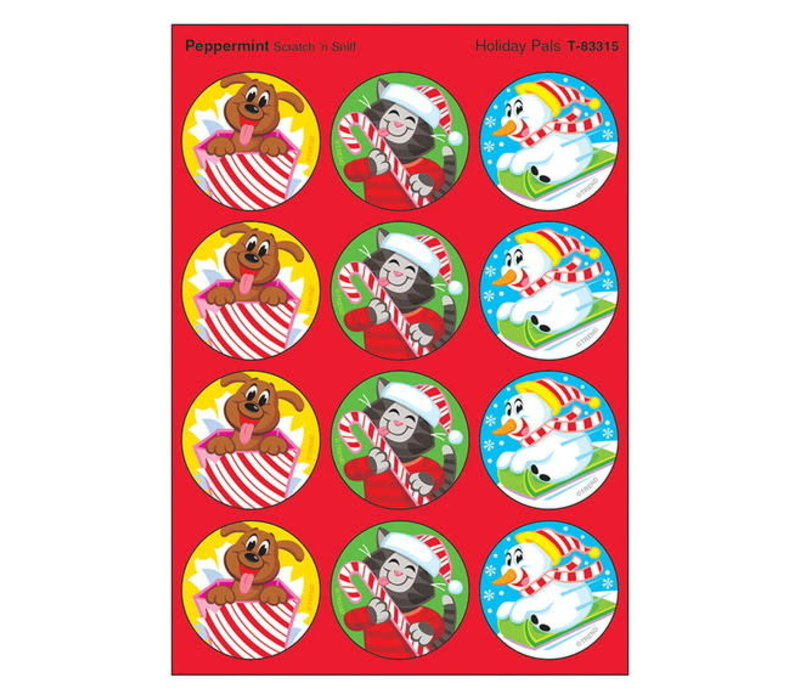 Holiday Pals, Peppermint scent Scratch 'n Sniff Stinky Stickers® – Large Round *