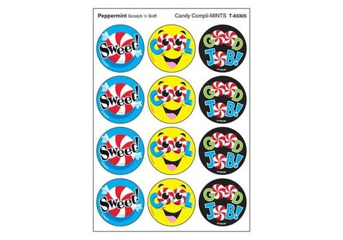 Trend Enterprises Candy Compli-MINTS, Peppermint scent Scratch 'n Sniff Stinky Stickers® – Large Round *