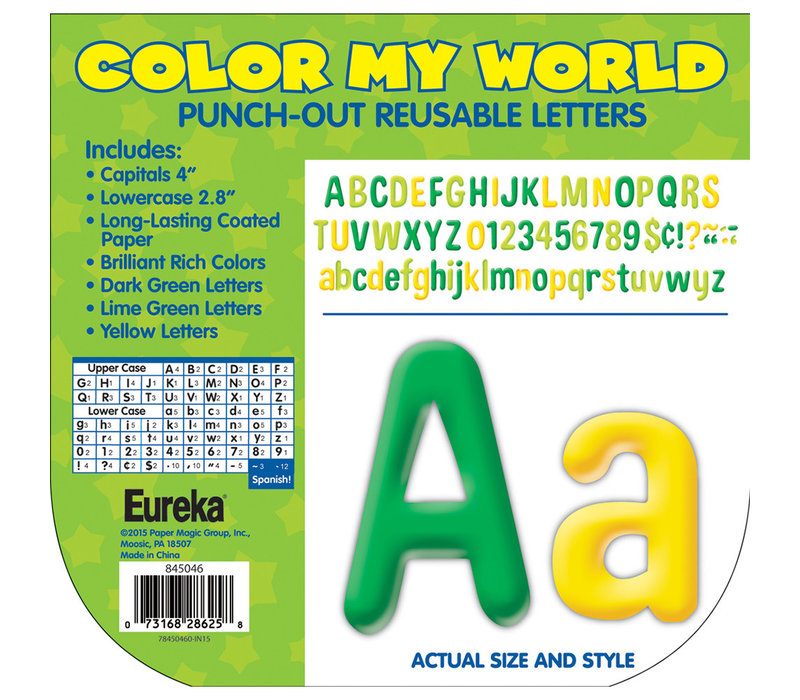 "Color My World - Green/Lime/Yellow Letters 4"" *"