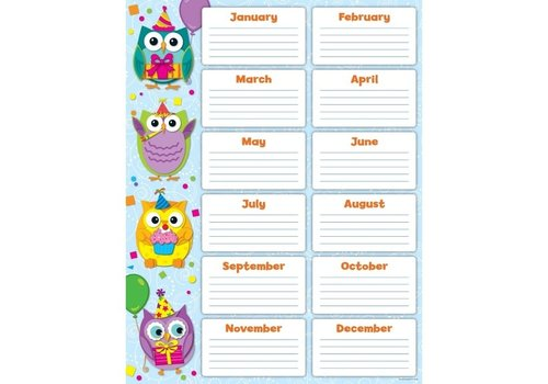Carson Dellosa Colorful Owls Birthday Chart *