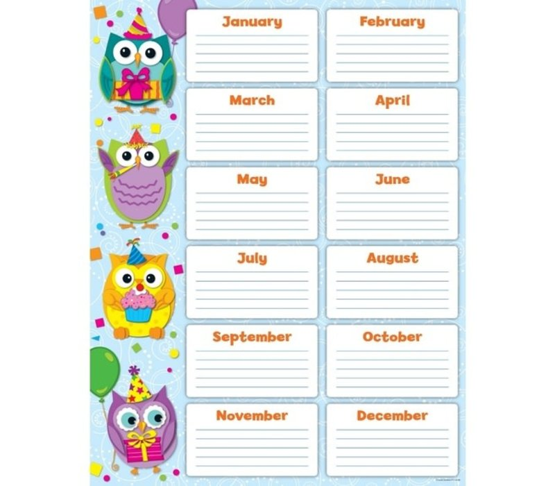 Colorful Owls Birthday Chart *