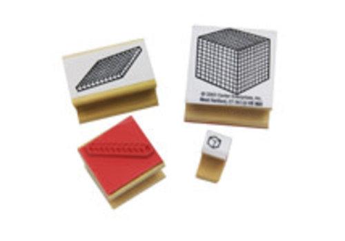 CENTER ENTERPRISES Base 10 Blocks - Set of 4 Stamps *