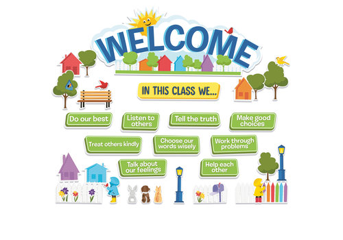 EUREKA A Teachable Town in This Class Welcome Bulletin Board Set *